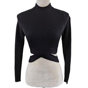 Zara Black Criss Cross Cropped Mock Neck Sweater S